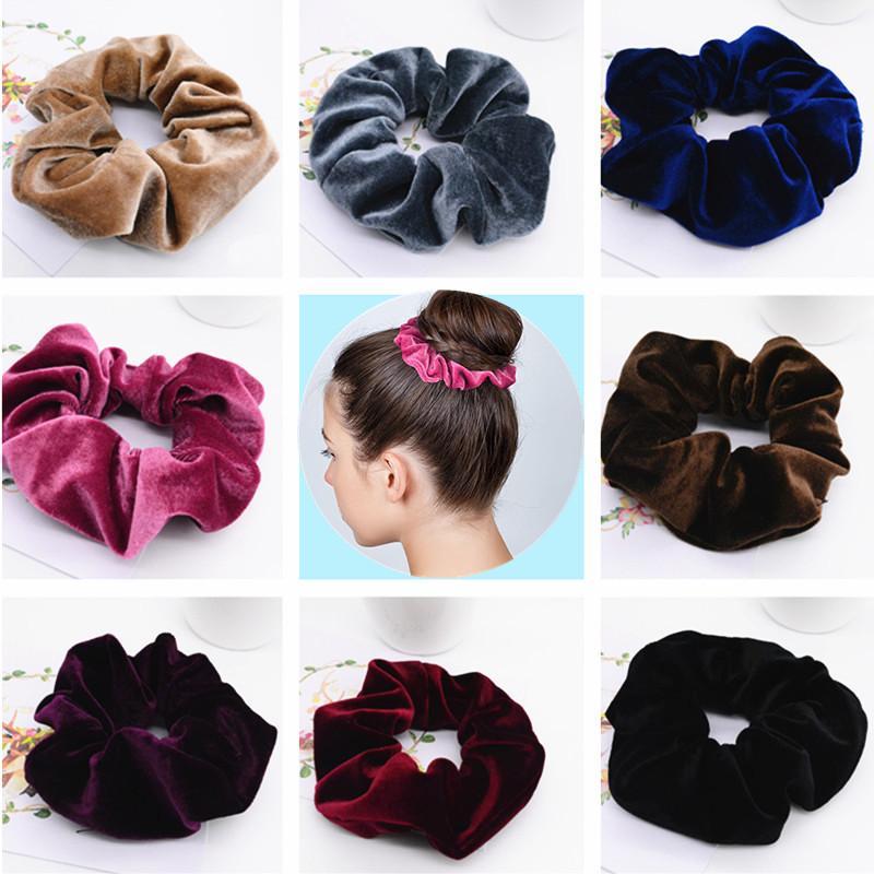 Women Velvet Scrunchies Solid Elastic Hair Bands Velour Women Hair Tie  Scrunchies Ponytail Holder Headband Send At Random Headband Accessories  Hair Jewelry ... f35a70bc3ac