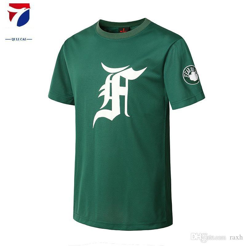 fe9314df2 Men Green Celtic Letter Print T-shirt Mesh Breathable Short Sleeve ...