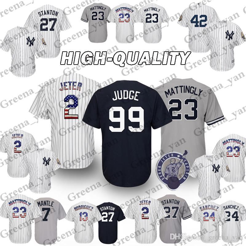 new product d798b d45c7 New York Yankees Jersey 99 Aaron Judge 23 Don Mattingly 42 Mariano Rivera 3  Babe Ruth 51 Bernie Williams Baseball Jerseys High-quality Top