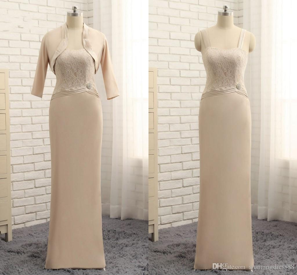 Elegant Champagne Two Pieces Mother of the Bride Groom Dresses Real Photos Chiffon Long With Jackets Lace Cheap Evening Formal Gowns