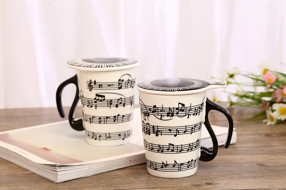 2019 Hot Sell Music Mugs Creative Musical Ceramic keyboard Cup Piano Score Coffee Mug with lid