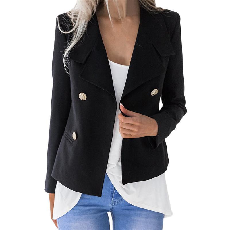 8e427b787346c8 Womens Solid Open Front Cardigan Long Sleeve Blazer Casual Jacket Coat  veste costume femme chaqueta femenina OL A1