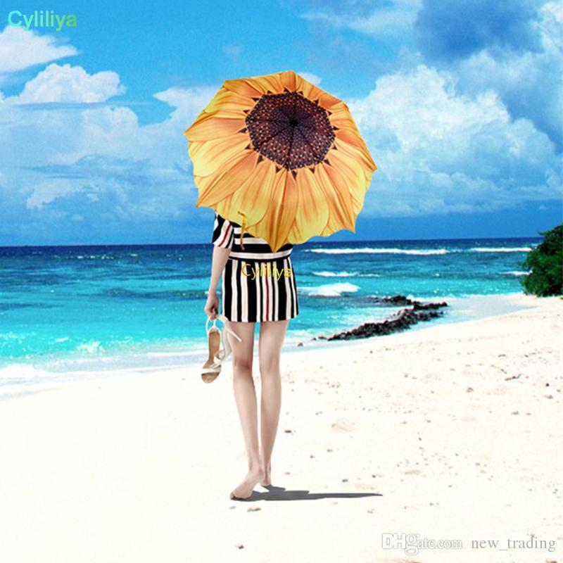 Patrón de girasol de moda tres paraguas plegables mujeres hombres sol / lluvia sombrillas de playa sombrilla envío gratis