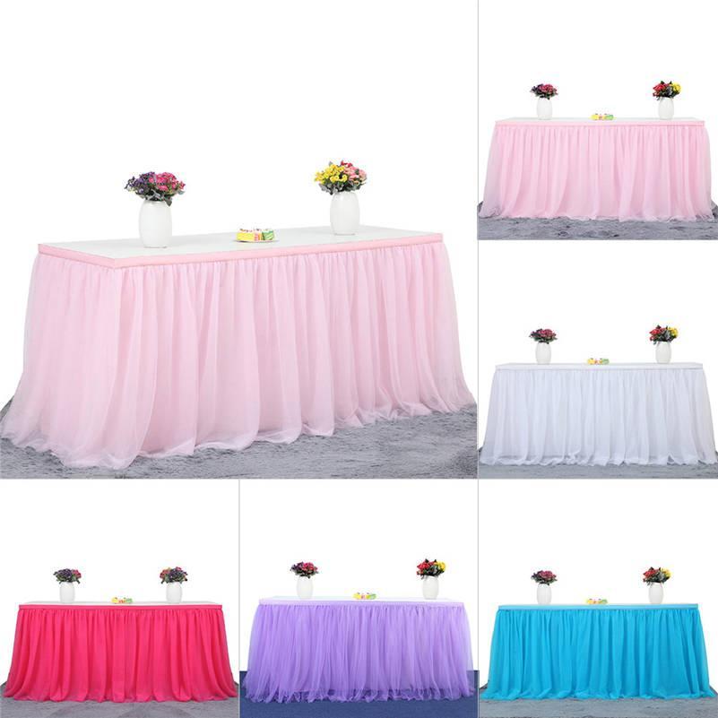 8e5043ded Falda de mesa de tul de nylon de 3 capas con borde dorado de 3 tamaños para  fiesta, boda, fiesta de cumpleaños Decoración del hogar 5 colores ...