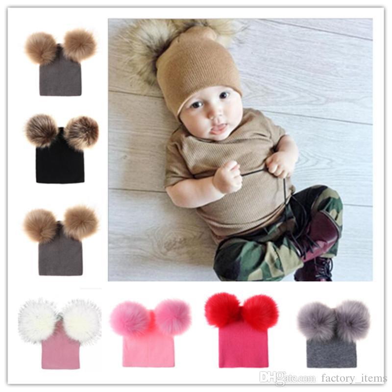 5984d958807 2019 2019 INS Baby Kids Double Fur Ball Beanie Boys Girls Fuzzy Crochet  Hats Ski Cap Pom Beanies Winter Warm Pom Pom Hat Children Party Hats New  From ...