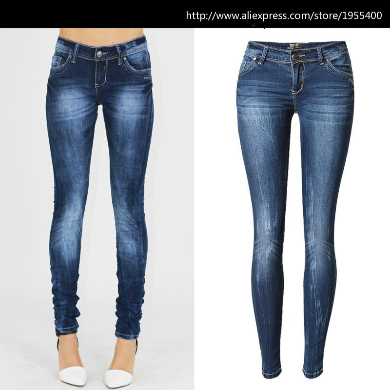 a9a2bdc78b 2019 Low Waist Blue Skinny Jeans Women Fashion Washed Bleached ...
