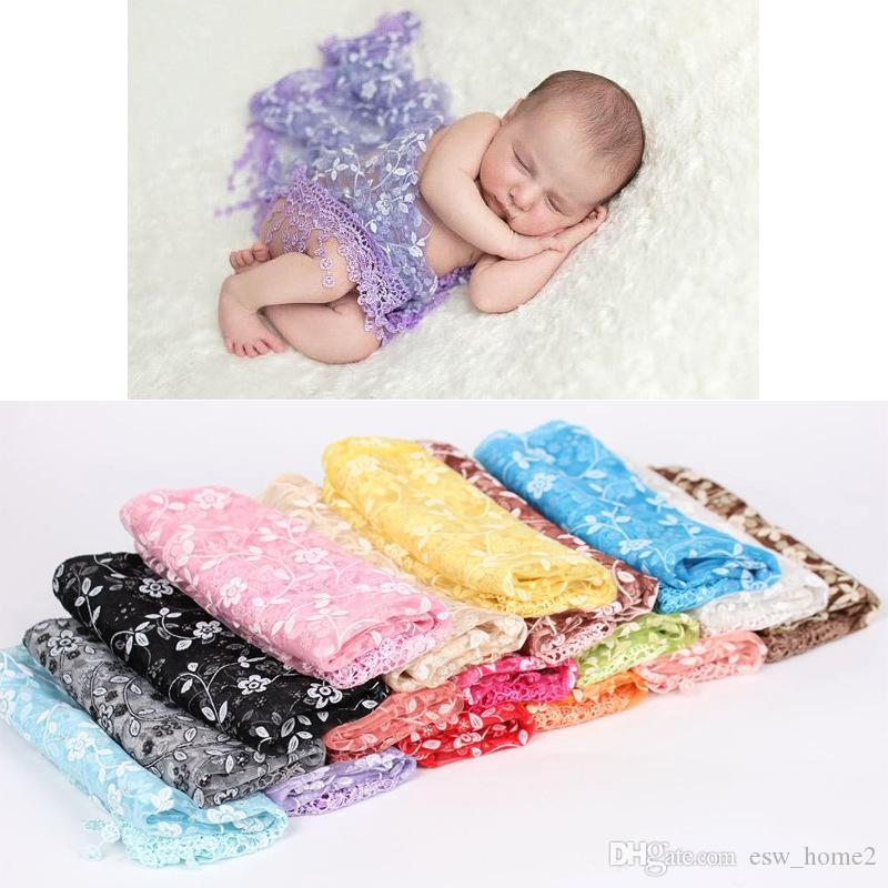 Lace Baby Blanket Floral Infant Girls Wrap Towel Newborn Embroidery Tassel Blankets Photography Quilt Photo Props 17 Colors