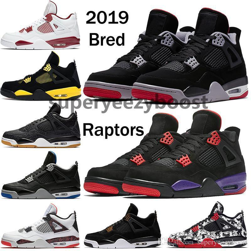 2019 Bred 4 Chaussures de basket-ball Sneakers Hommes Hommes Thunder White Cement Pure Money Jeu de la royauté Royal 4s Chaussures de sport Us 7-13
