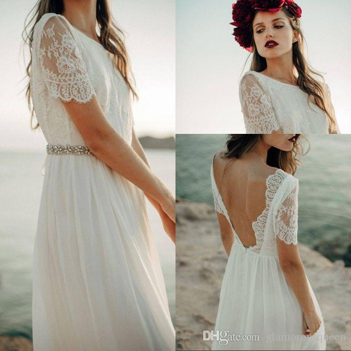 4f62d7129e Best Selling A Line Scoop Backless Floor Length Chiffon Beach ...