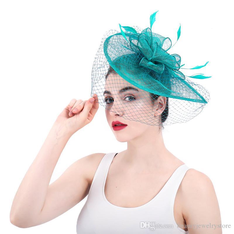 3ae63c6c7fb50 Compre Sombreros Nupciales Para El Agua Con Cara Velo Plumas Fascinadores De  Lino Fiesta Formal Para La Mujer Accesorios Para El Cabello Gelin  Aksesuarlar A ...