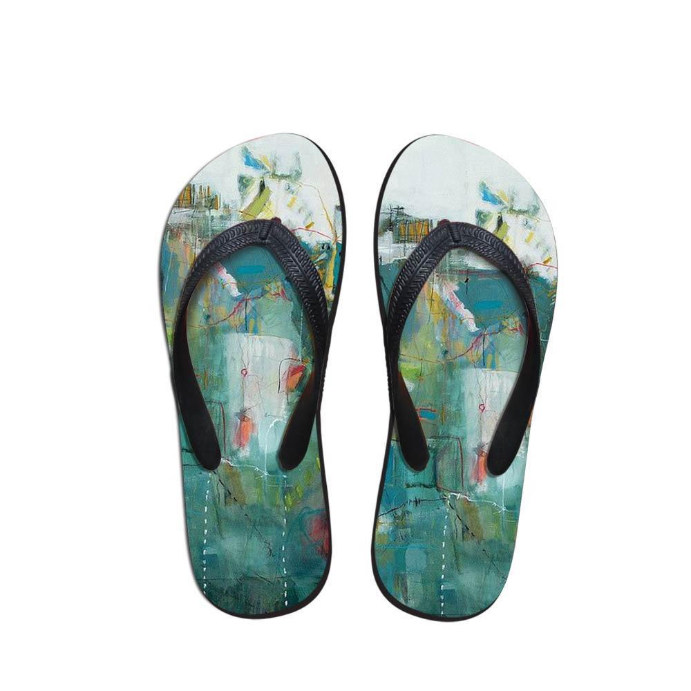75b52afc21dd Comfort Men's Flip Flops Beach Shoes Outside Sandals Flops Sandals Man  Landscape Painting Summer Simple Design Flop