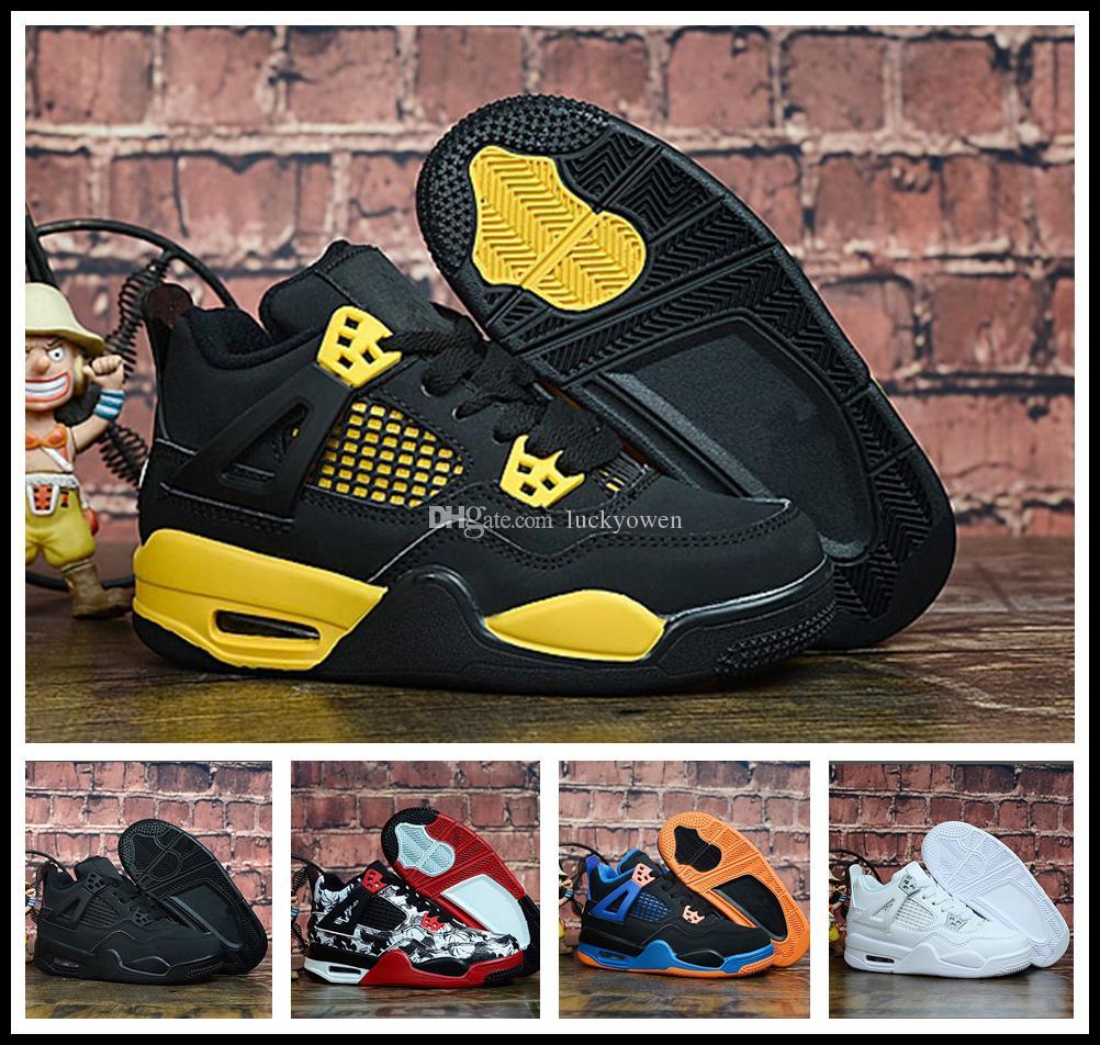 buy online 5f157 427dc Compre Nike Air Jordan Aj4 2018 Kid Young 4 All Star Para Niños, Mujeres,  Hombres, Zapatos De Baloncesto De Alta Calidad 4s IV, Negro, Blanco Y Dorado,  ...