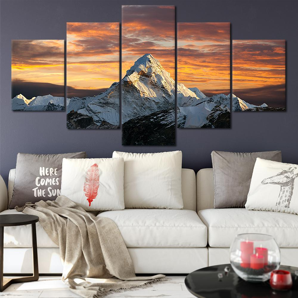 2019 canvas posters home decor wall art framework snow mountain rh dhgate com