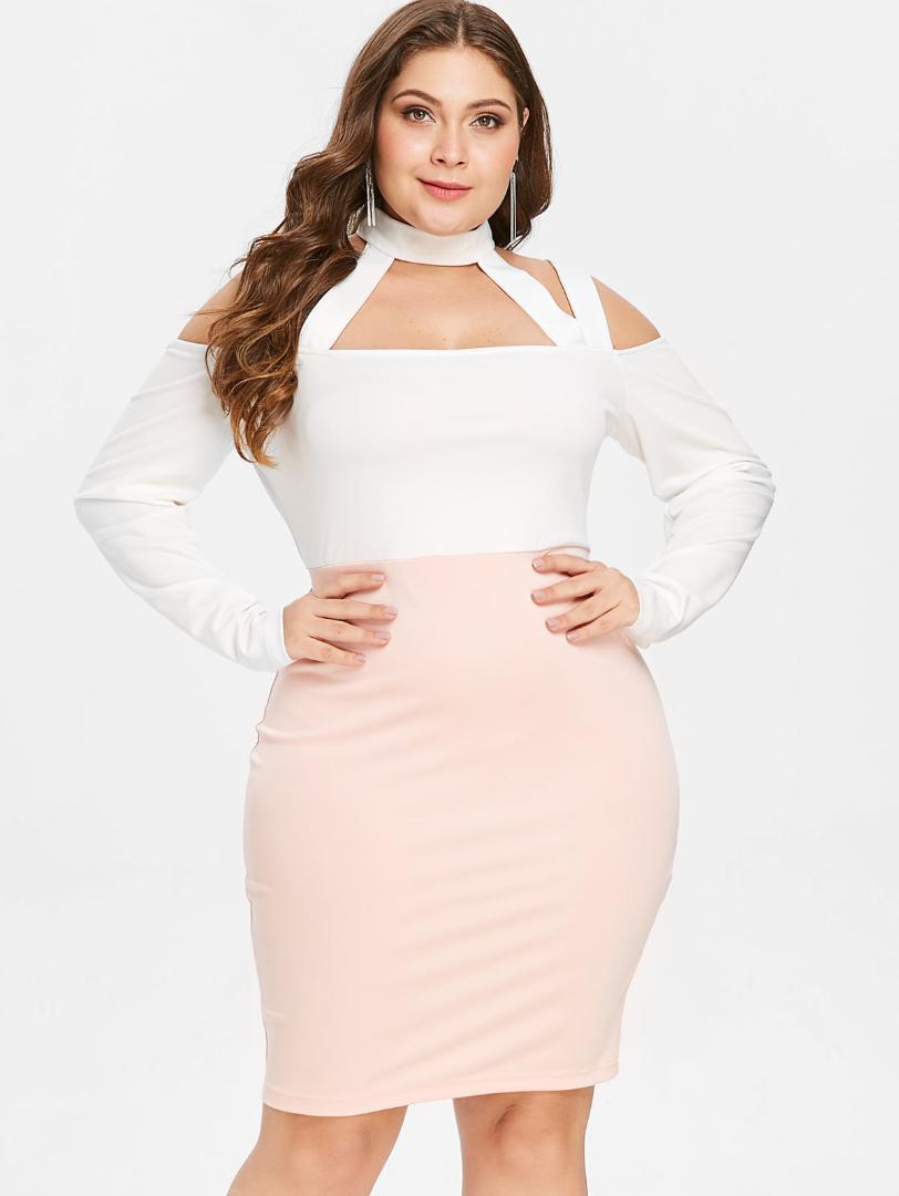 d18634e1292 Wipalo Color Block Plus Size Cut Out Cold Shoulder Bodycon Dress High Neck Long  Sleeve Pink Patchwork Mini Dress Vestidos 2019 Summer Flower Dresses Cute  ...
