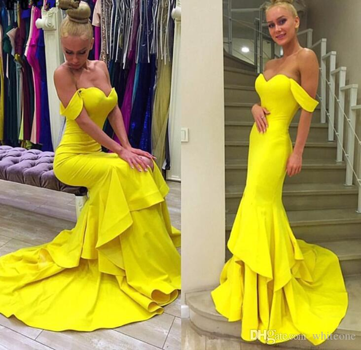 dc31c0dee348 Elegant Mermaid Evening Dress 2019 Off Shoulder Sweetheart Neckline Tiered  Yellow African Formal Sexy Prom Dress Party Gowns Robe De Soiree Chic  Evening ...