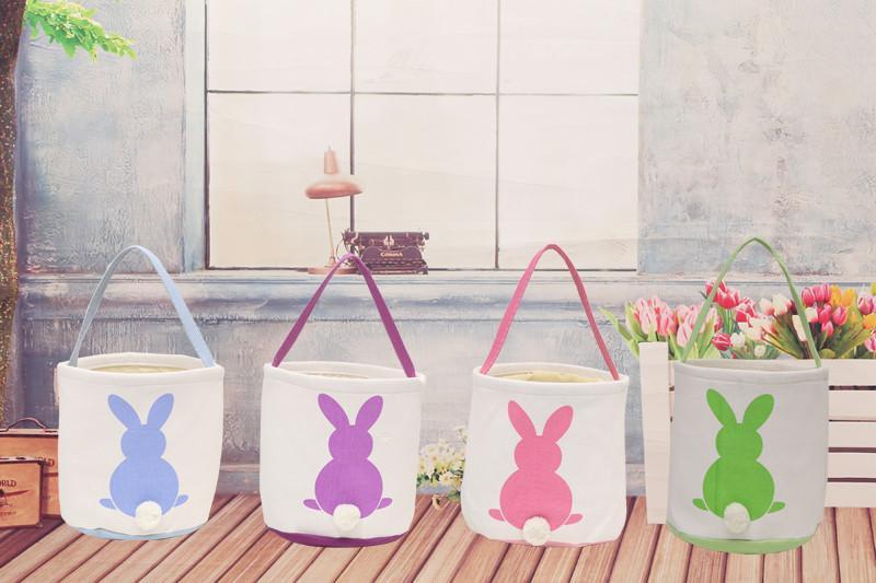 95c9a08a06c4 2019 DIY Easter Bunny Basket Rabbit Bag Tail Bags Canvas Easter Celebration  Gifts Christma Bag 2018 Handbag for Kids