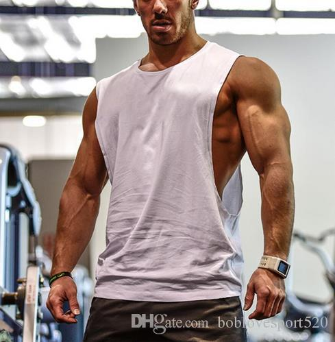125b7d17a62ea Sleeveless T-shirt Cropped Vest Mens T-shirt White Stringer Gyms in ...