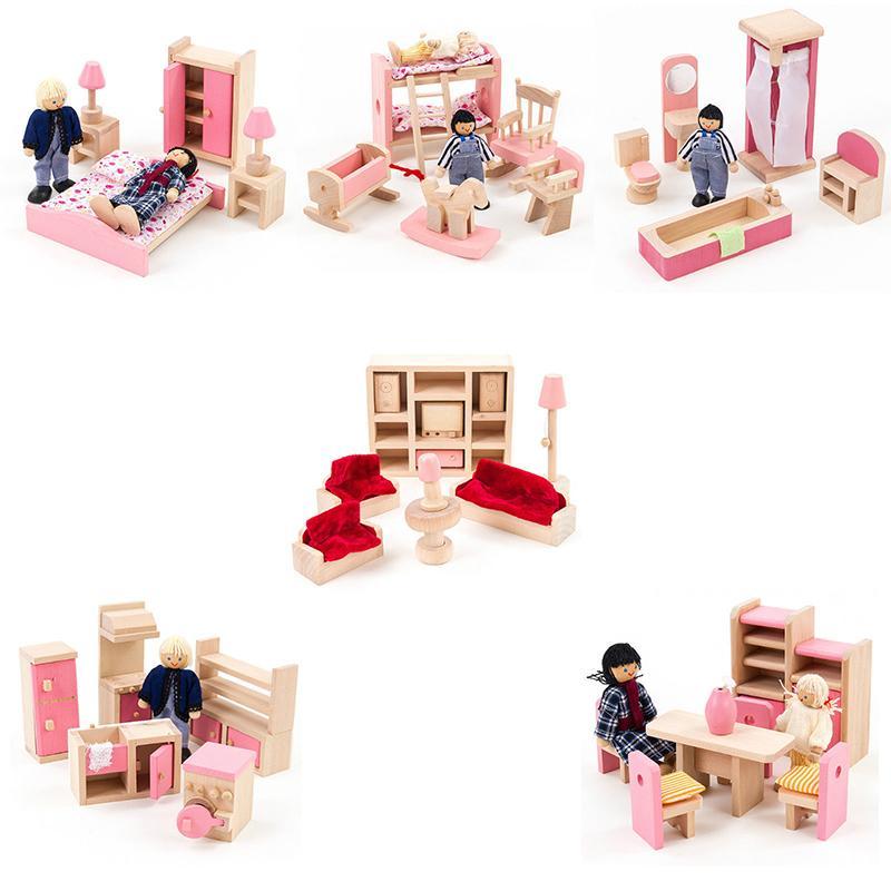 Kinder Ganze Set Holz Rosa Mobel Holz Kuche Badezimmer Schlafzimmer Puppenhaus Spielzeug Kinder Madchen Geburtstagsgeschenke