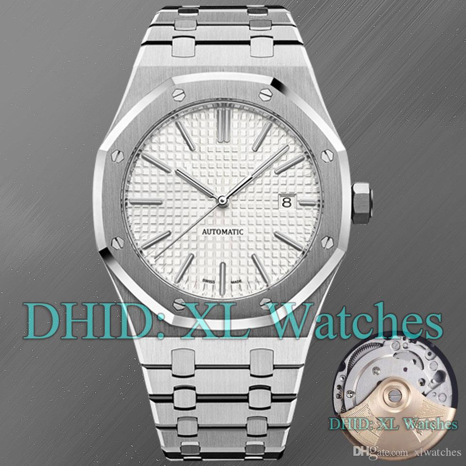 15400 Luxury Watch Automatic Movement 316L Stainless Steel Silver Bracelet Brushed Texture Dial Square Lattice Designer Watches A21-1