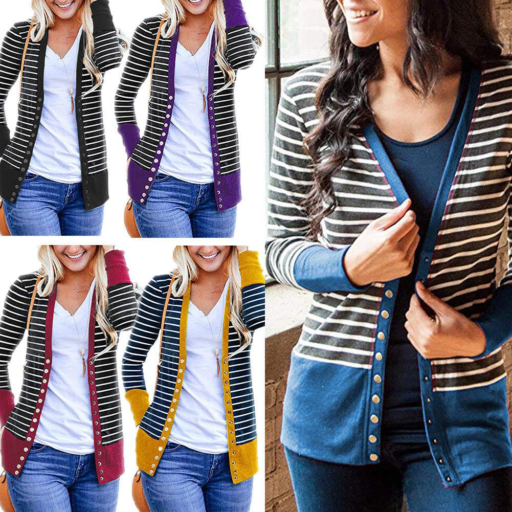 eee3e28e8 Women Cardigan Long Sleeve Striped Open Front Knit Button Down ...