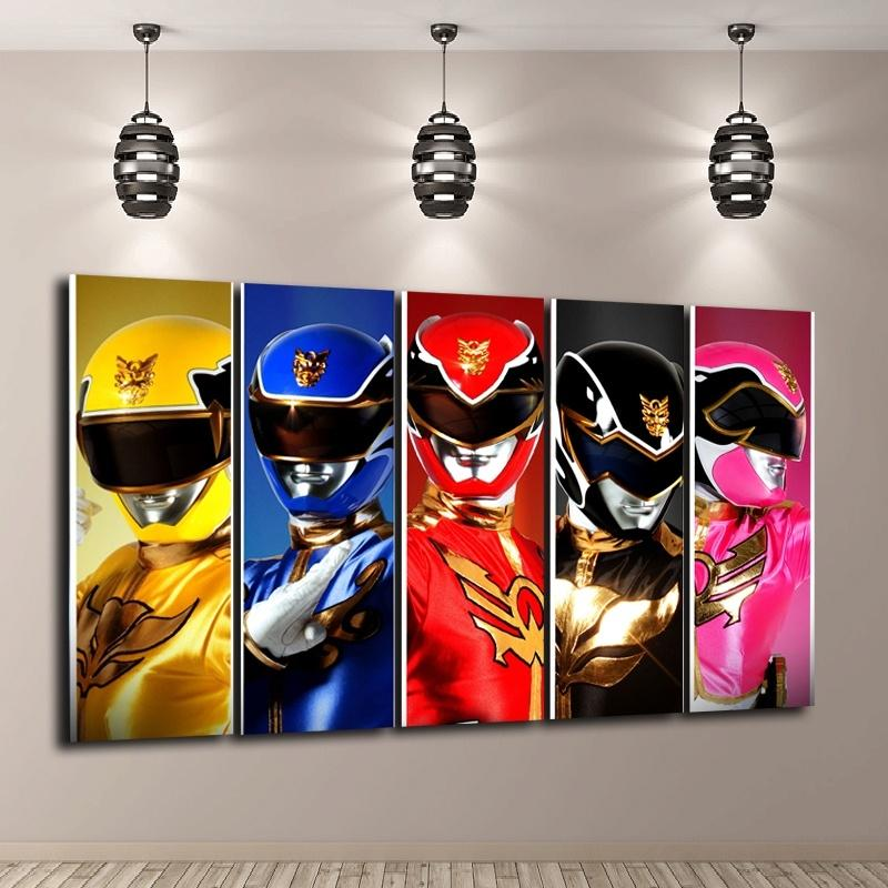 Power Ranger Megaforce,5 Pieces Home Decor HD Printed Modern Art Painting  on Canvas (Unframed/Framed)