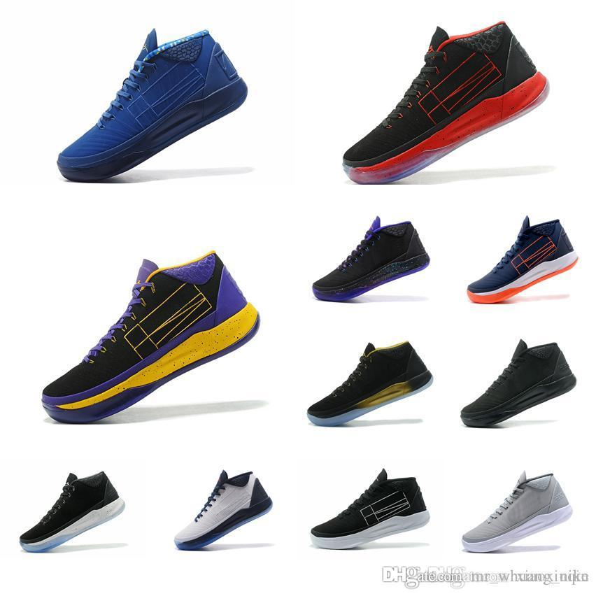 best service b8a9c 5b0b7 2019 Cheap Men Kobe A.D 12 Mid Basketball Shoes For Sale Triple Black Red  Purple Gold New Colors KB XII Elite Generations Sneakers Boots With Box  From ...