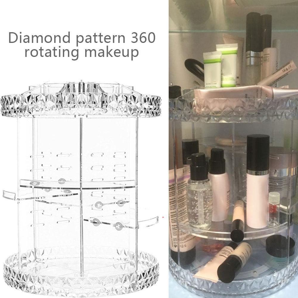 360Degree Rotation Makeup Organizer Cosmetics Transparent Box Multi-function Detachable Storage Brush Holder Jewely