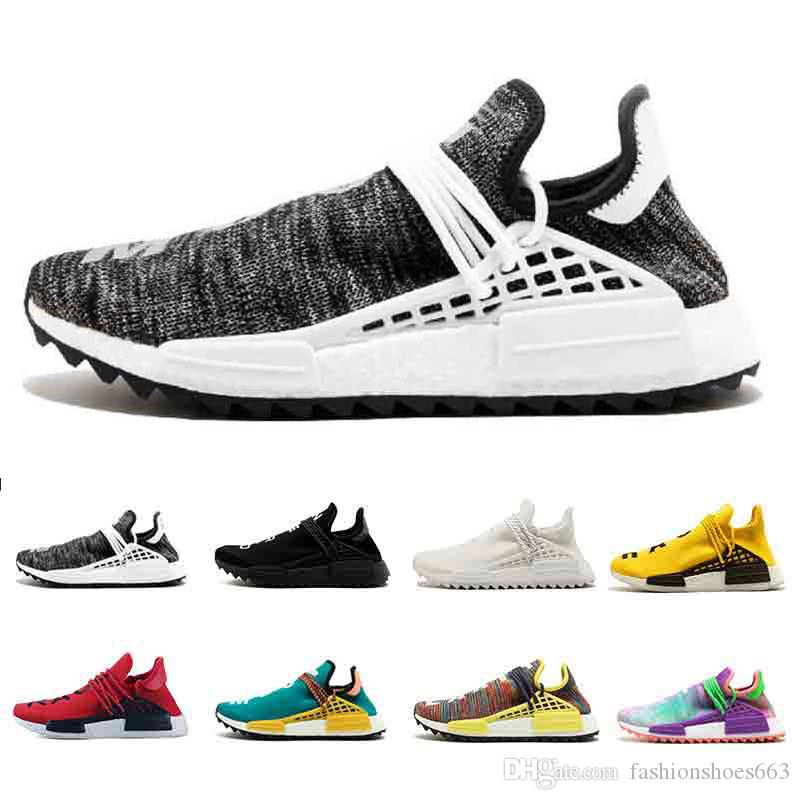 2019 casual Human Race Mens Running Shoes Pharrells Sample Yellow Core Black Sport Designer Shoes Women Outdoor sneakers shoes 36-45