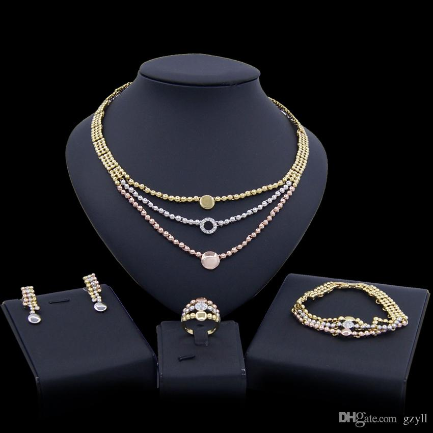 Yulaili Fashion African Dubai Gold Jewelry Sets Nigerian Tricolor Rhinestone Necklace Earrings Ring Wedding Bridal Jewellery Free Shipping