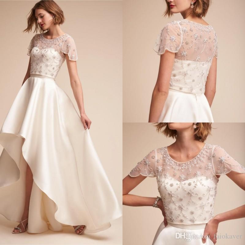 2019 BHLDN Wedding Jacket Jewel Neck Beads Rhinestone Appliques Short Sleeves Lace Wrap Custom Made Bridal Jacket for Wedding Dress