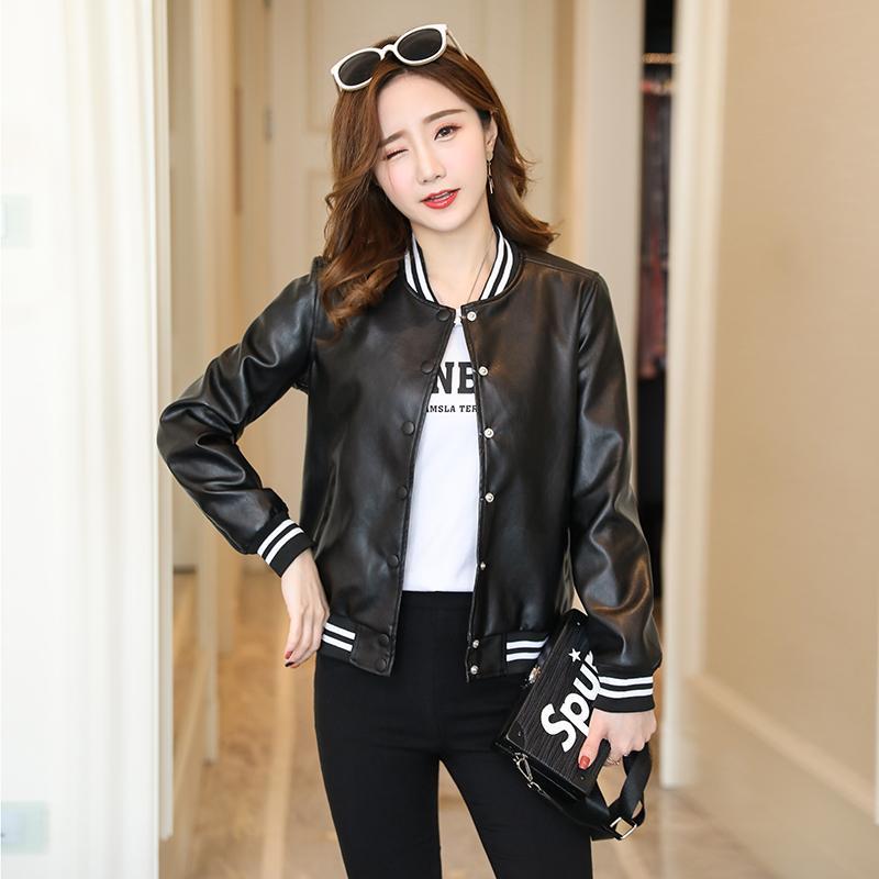 931fee125 LUKAXSIKAX 2018 New Autumn Winter Women Coat Korean Style Baseball Jacket  Black Pu Leather Short Slim Jacket