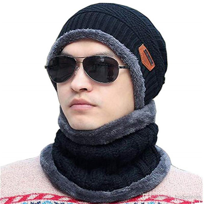 750b49578d167 Fashion Winter Beanie Hat Scarf Set Slouch Warm Knit Hat Neck Warmer