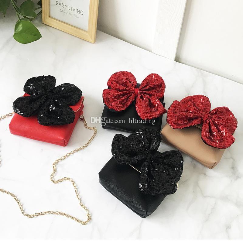 d686f52bda28 Baby Girls Big Bow Sequin Messenger Bag PU Leather Cartoon Cute Kids Mini  Shoulder Bag Boutique Bow Knot Coin Purse Handbag Cful Backpacks Cheap Kids  ...
