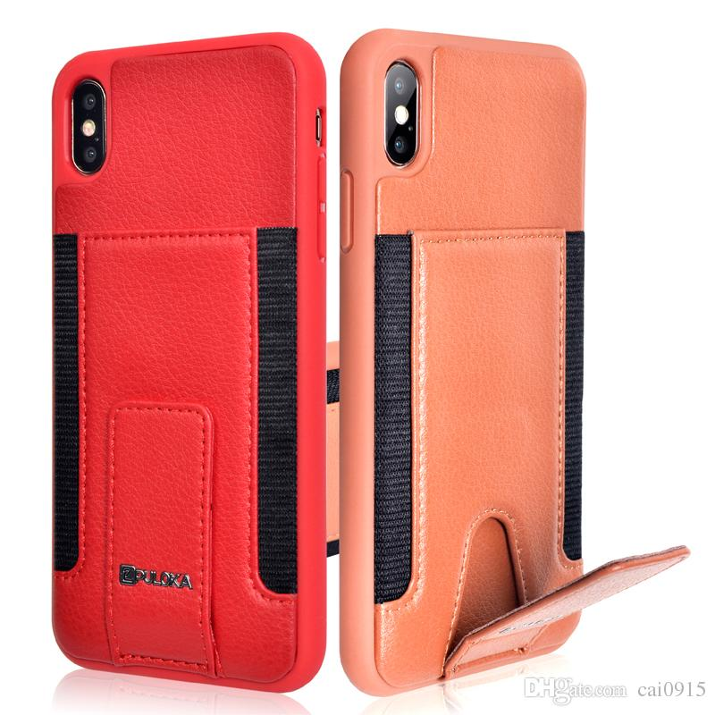 the best attitude 2844c f2c5e PU Leather Case For iPhone 6 7 8 Plus 6S with Card Holder Back Flip Cover  Wallet Credit Card Slot Retro Bag For iPhone X XS MAX