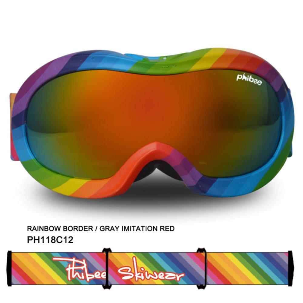 725810b6601 Children Frame Ski Goggles Double Layers UV400 Anti-fog Big Ski Mask ...