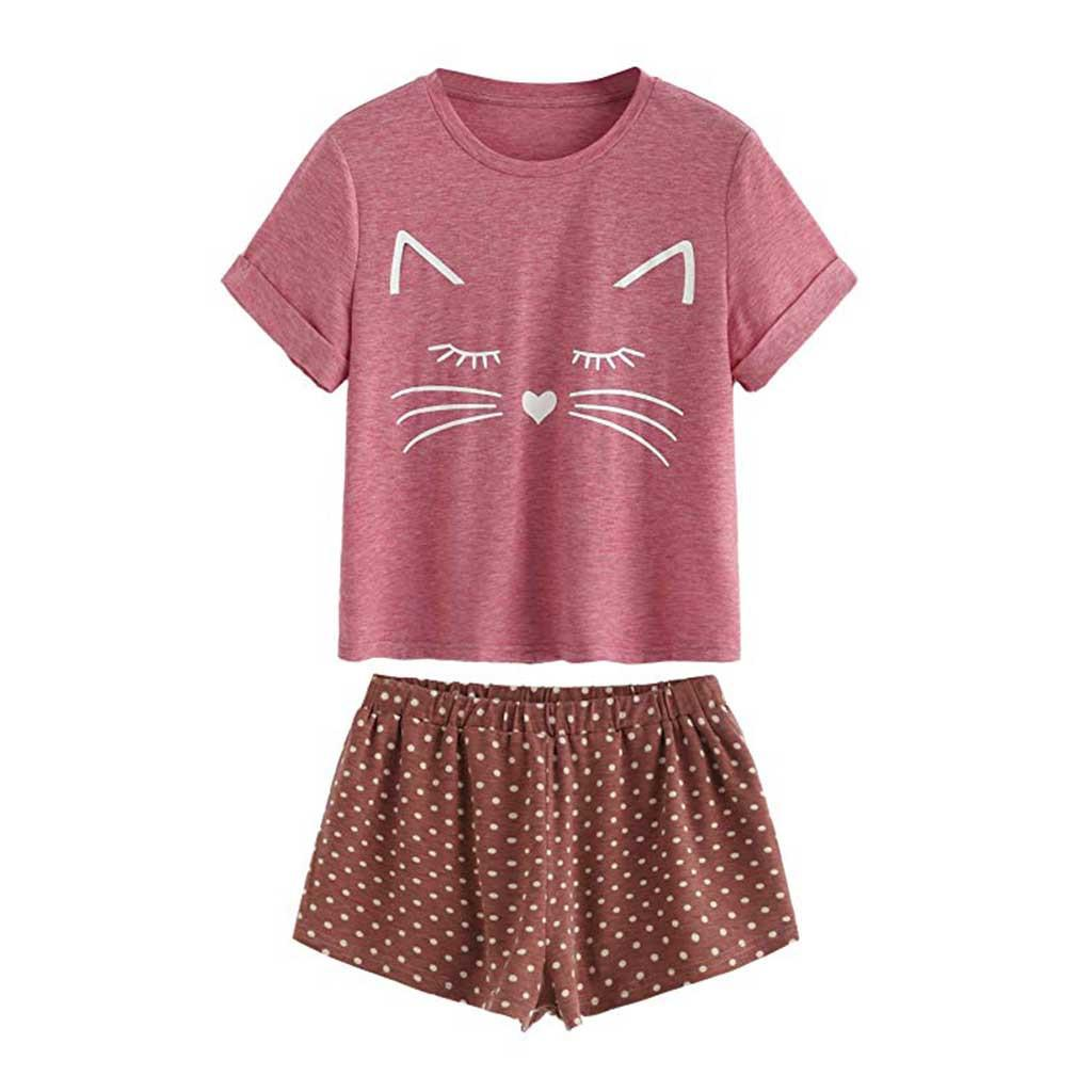 3ab9e6f7e4 ISHOWTIENDA Women Sexy Pajama Set Cat Print Summer Female Sleepwear Short  Sleeve Bodydoll Pajamas Camis And Shorts Pajama Sets Cheap Pajama Sets  ISHOWTIENDA ...