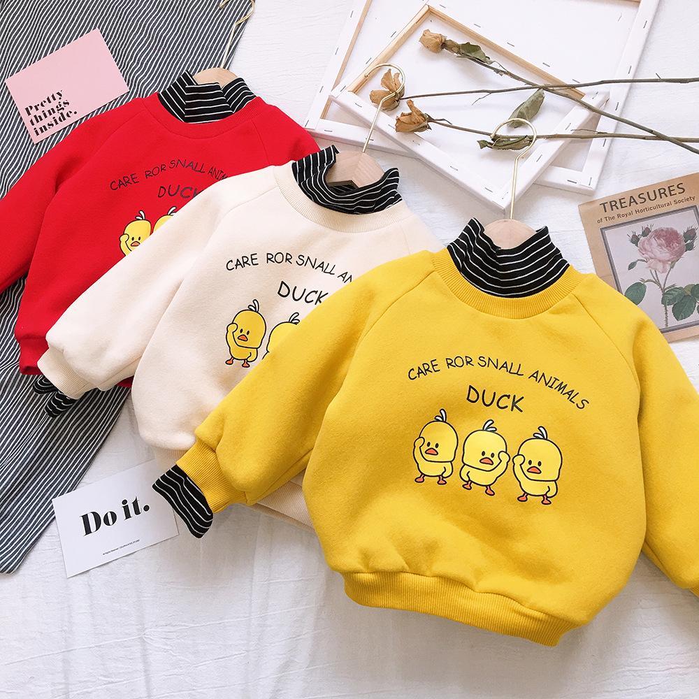 9f5c22482e6b Los niños de año nuevo usan sudaderas con capucha para niñas 2018 otoño e  invierno nuevas tres capas de algodón con capucha abajo pato amarillo ...