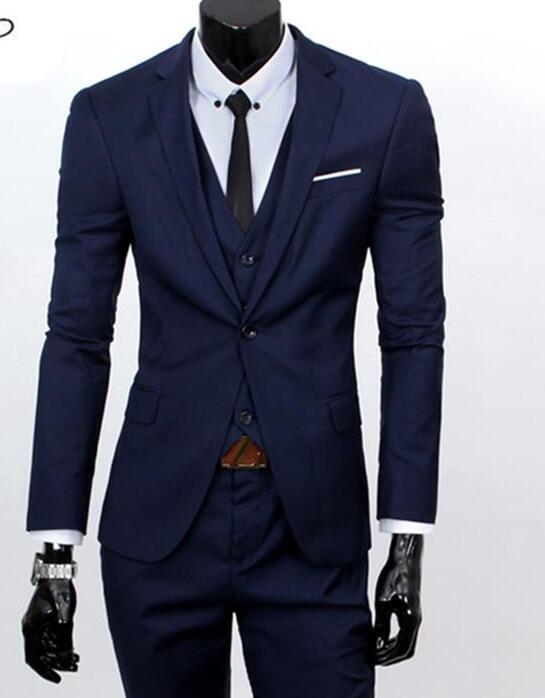 Acheter Veste + Pantalon + Gilet Hommes Costumes Marque Affaire Blazers  Veste Robe Habillée Homme Costume Ensemble Homme Mariage Groom Tuxedos  Trois Pièces ... 949dd397ef7