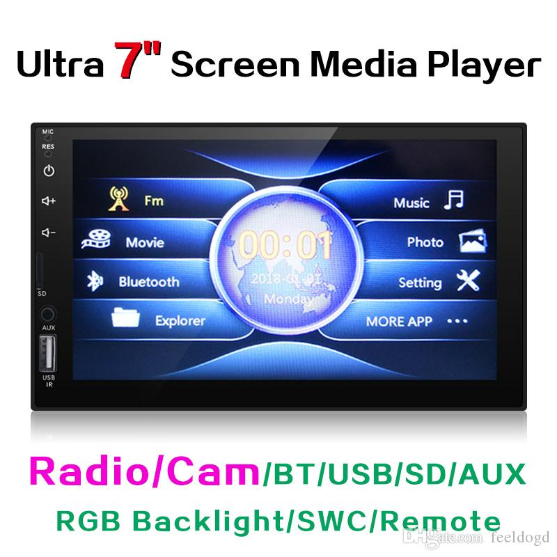 "Ultra Slim 7"" Capacitive Touchscreen Car Media Player With Radio/BT/USB/SD/AUX/RGB Backlight/SWC/Remote #3582"
