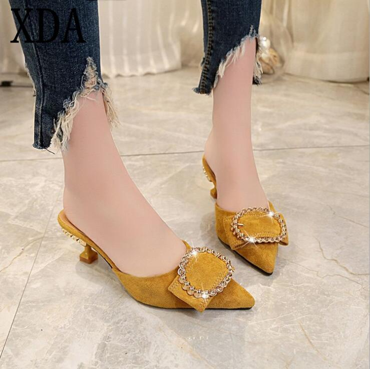 XDA 2019 Summer High Heel Mules Slippers Ladies Pointed Toe Style Crystal women Slipper Fashion Shallow mouth single shoes A303