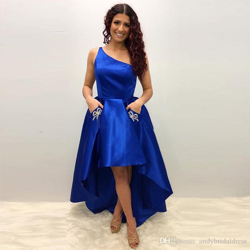 f123f8b1b4e5 Royal Blue One Shoulder Hi Lo Cheap Prom Dresses With Pocket Bow Tie  Cocktail Party Gown Satin Short Evening Dress 2019 Orange Prom Dresses  Peach Prom ...