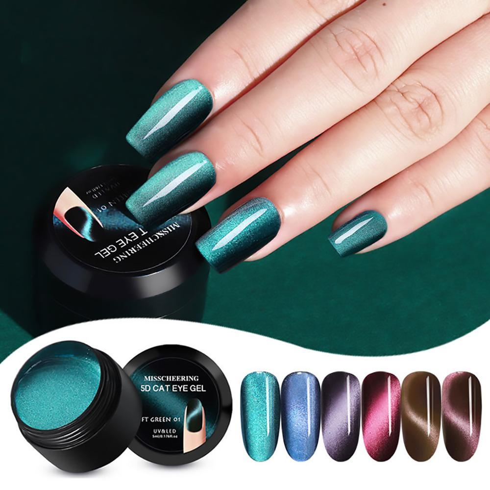 5D Cat Eye Nagellack 5 ml Magnetic Gel-Nagel-Gel Soak Off UV-Lacke Starry Sky Jade Effektlack Magnet Laser Kunst