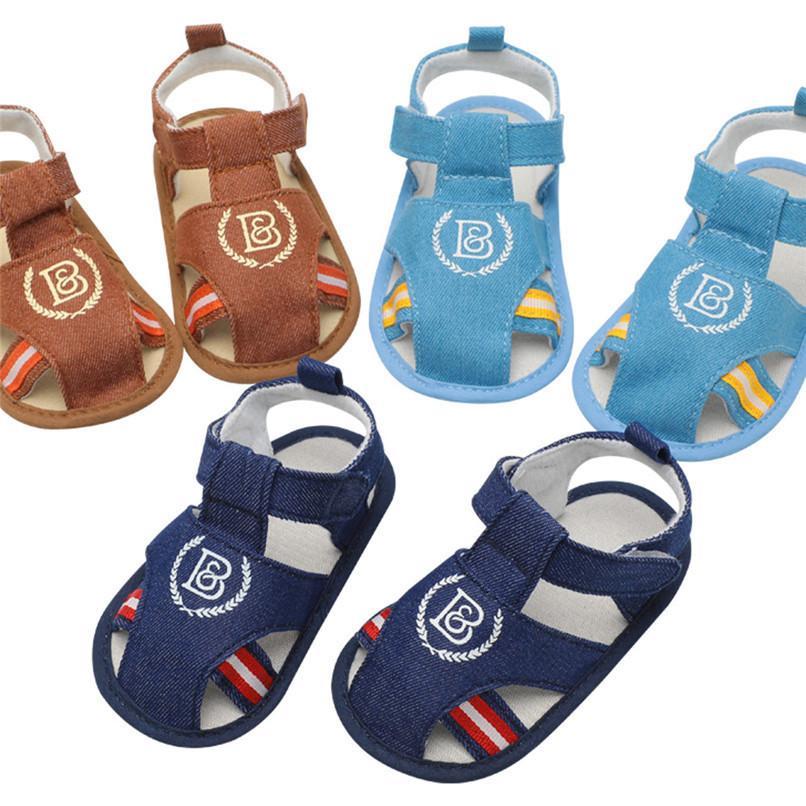 cc29fda675d30 Acheter 3 Couleur Été Bébé Garçon Chaussures Toddler Bébé Garçons Imprimer  Toile Semelle Souple Anti Slip Chaussures Sandales Romaines Bébé Garçon  Sandales ...