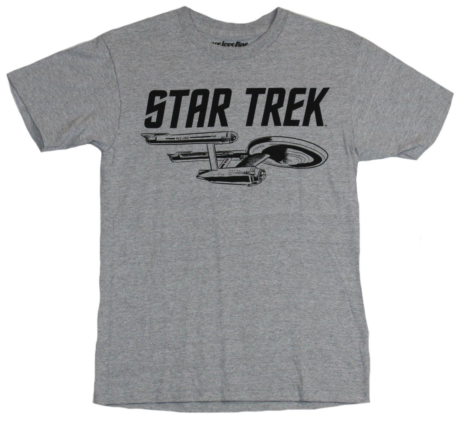 6d3ba3c6 Star Trek Mens T Shirt Enterprise Under Black Words Image Logo Men ...