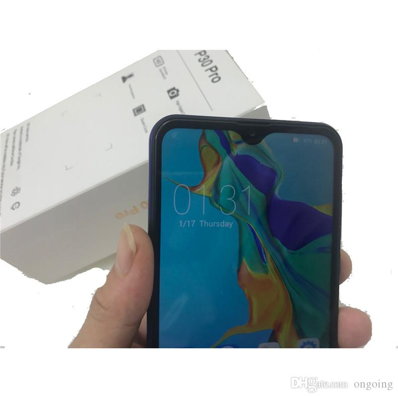2019 Unlocked Goophone P30 Pro 6.5Inch Show 8GB 128GB Show 4G Lte HD Screen Quad Camera GPS Wifi 3G WCDMA Android CellPhone DHL