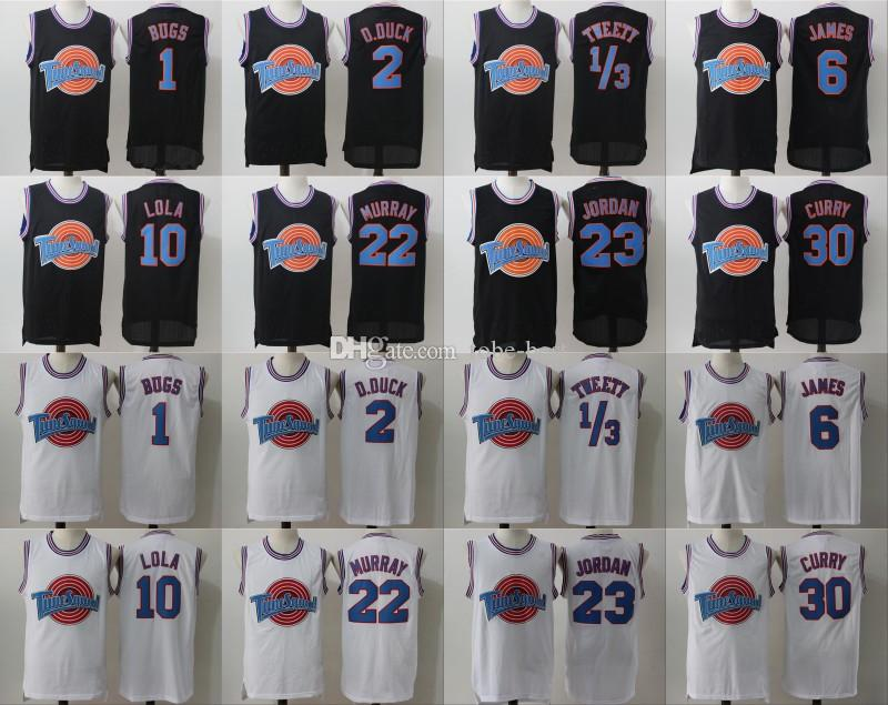 e66c8bb3be9 2019 Space Jam Jersey Movie Tune Squad Looney Daffy Duck Bill Murray Lola  Bugs Bunny TAZ Tweety Michael LeBron James Basketball Curry Black White  From Tobe ...
