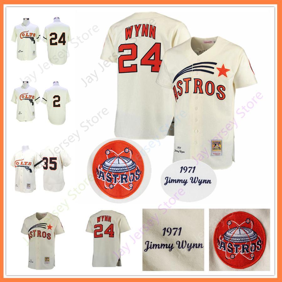 finest selection 39000 979de Men Houston Colts Cooperstown Jersey Nellie Fox 24 Jimmy Wynn 35 Joe Morgan  Cream All Stitched Men size M-3XL