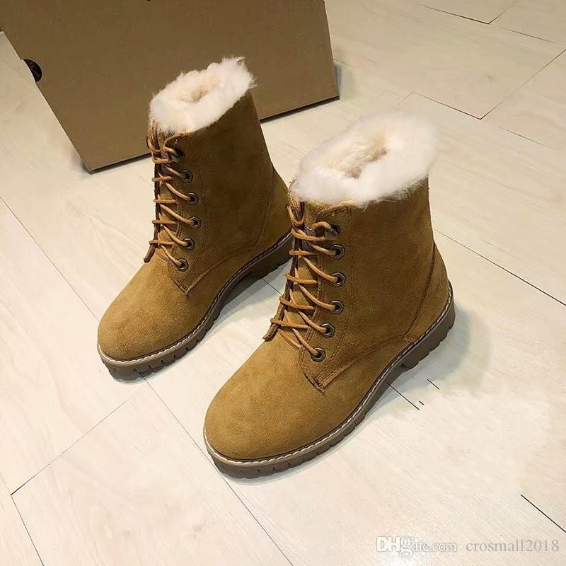 4aec263951b Genuine Leather Fur Snow Boots High top Lace up Womens Winter Warm Boots