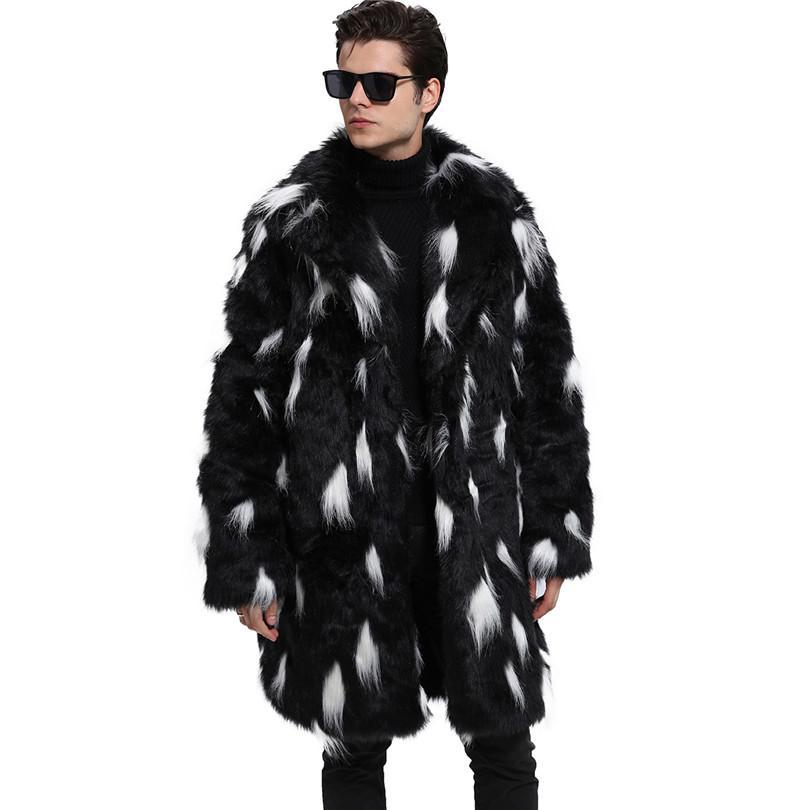 7236074382bd6 2019 Lanshifei Hight Mens Winter Faux Fur Jacket Thicken Fur Warm Jaqueta  De Couro Masculino Collar Men Coat Imiatate Parka From Homedress