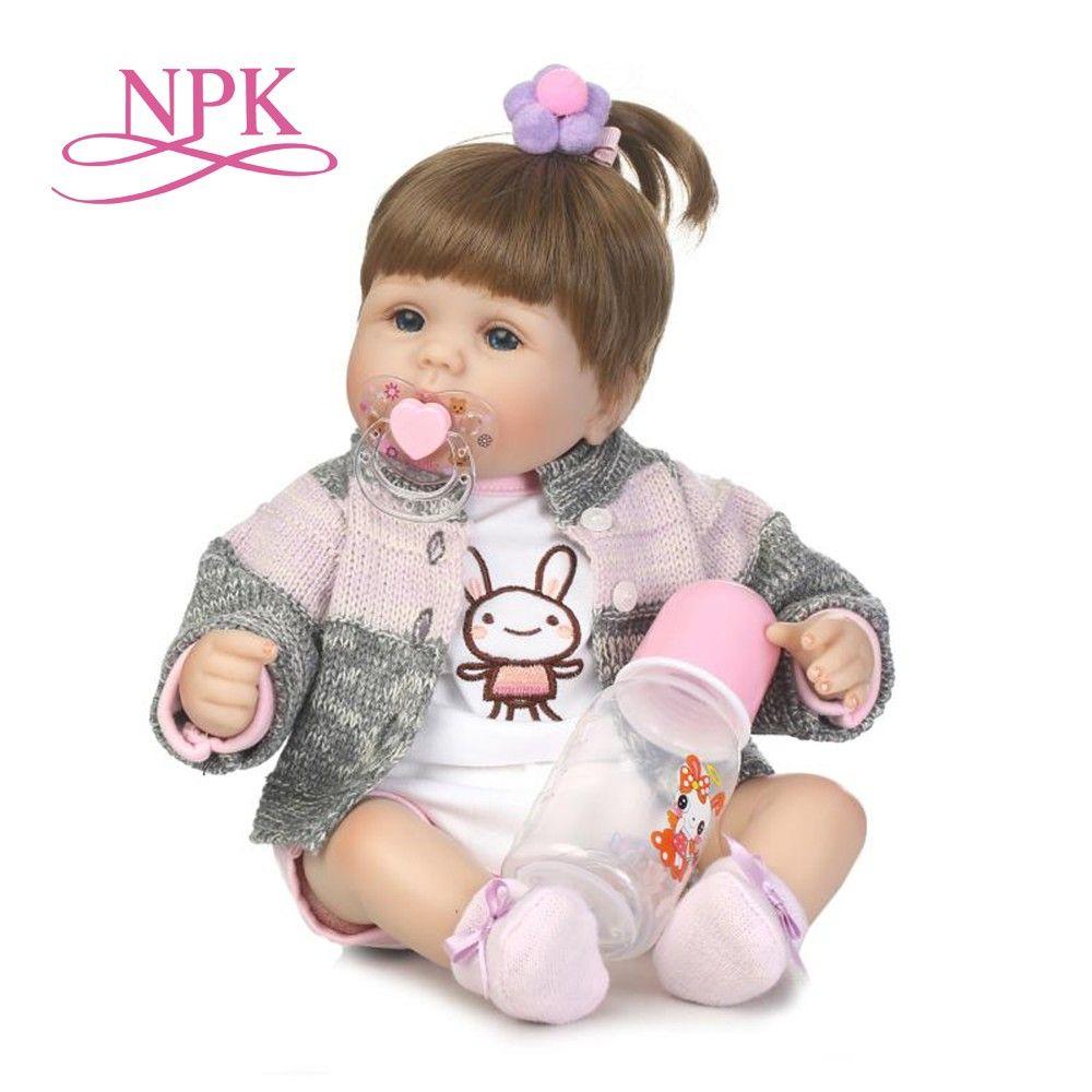 73b2bf6d5e114 40cm Silicone reborn bébé poupée jouets comme réel nouveau-né ...